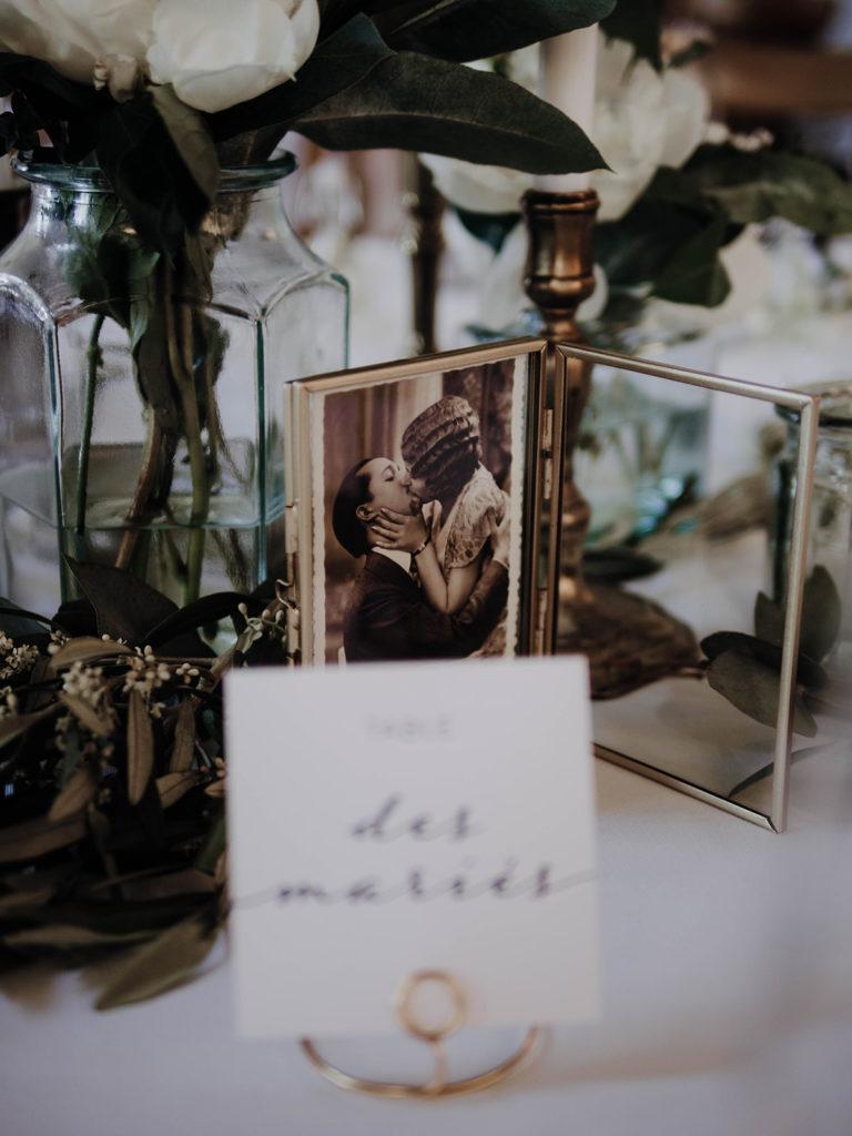détail porte nom vintage table des mariés
