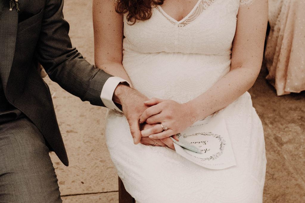 détail des mains enlacées des mariés dans l'église