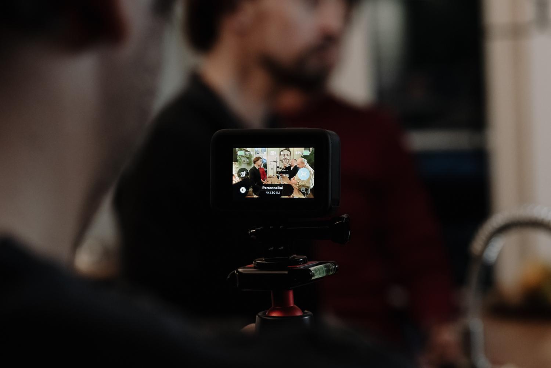 vu de l'écran de go pro pendant un tournage