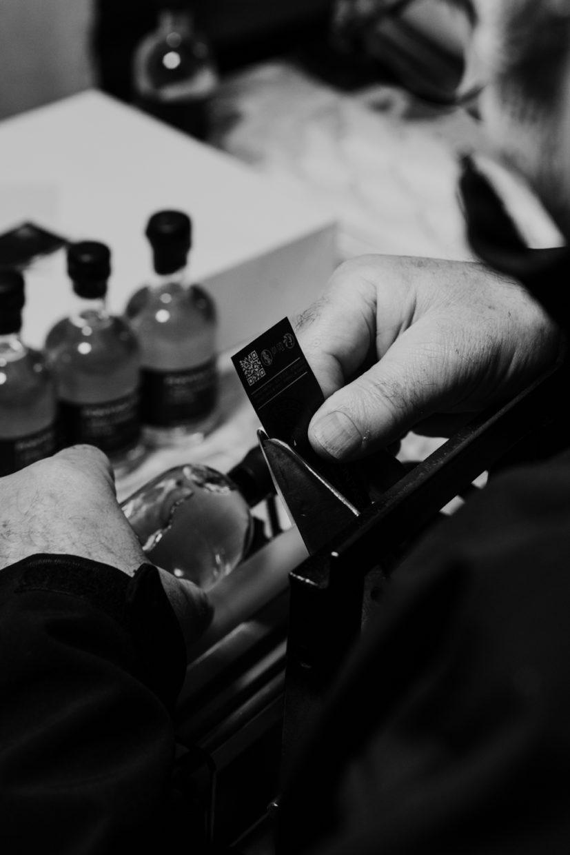 détail de l'échantillonage du whisky