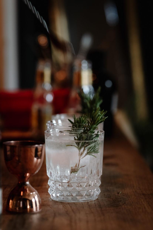 branche de romain dans le verre de gin tonic